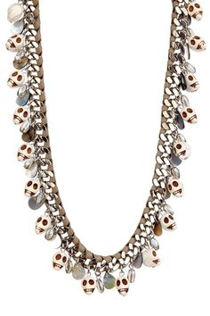 Leather Chain Link Skull Necklace