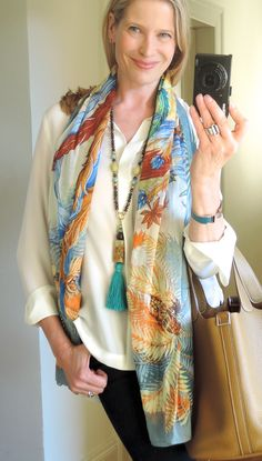 MaiTai's Picture Book: Mythiques Phoenix cotton pareo with long gemstone necklace in turquoise