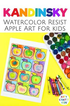 Looking for preschool apple art projects for kids to make at home or in the classroom? This Kandinsky art for kids uses crayons and a watercolor resist painting to create colorful apples. Get instructions for these back to school apple crafts for kids plus other fall apple crafts for kids to make here! Kandinsky Apple Art for Kids | Preschool Apple Art for Kids | Abstract Apple Art for Kids | Autumn Apple Art for Kids | Art Ideas for Kids | Fall Art Projects for Kids #FallArt #AppleArt…