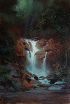 I painted this waterfall for my wife, to cheer up the drab delivery room where she gave birth to our daughter. I put the painting directly i. Environment Sketch, Environment Painting, Environment Design, Landscape Art, Landscape Paintings, Landscapes, Sketch Background, 2d Art, Light Painting