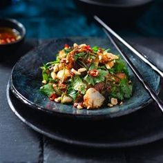 Salad of Scallops, Lime, Soy and Chilli Dressing - Chef Recipe by Dan Jarrett Recipe Chef Recipes, Fish Recipes, Seafood Recipes, Asian Recipes, Dinner Recipes, Cooking Recipes, Recipies, Tamarind Restaurant, Thai Dipping Sauce