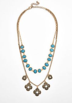 Timeless Treasure Necklace. Elegance is always in fashion, and so is this vintage-inspired necklace! #blue #modcloth
