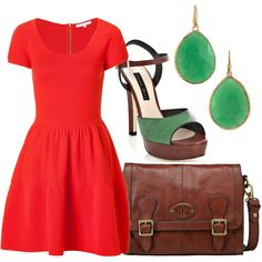 Coral and Jade, created by vintagerose914 on Polyvore  Love the dress!