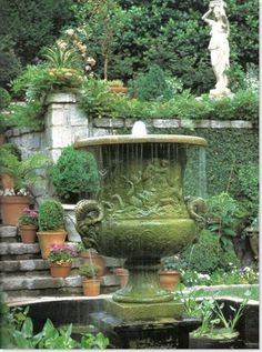 Reverence for the past is shown in this antique French urn fountain decorated with scenes from classical mythology. Garden Urns, Garden Fountains, Water Fountains, Outdoor Fountains, Water Features In The Garden, Garden Features, Landscape Design, Garden Design, Garden Structures