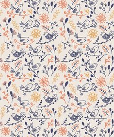 Wawani Birds is a wonderfully vibrant nursery wallpaper. Light, loose and relaxing this adorable wallpaper is perfect for a gender neutral nursery. Bird Patterns, Pretty Patterns, Textile Patterns, Beautiful Patterns, Fall Patterns, Floral Patterns, Prints And Patterns, Bird Wallpaper, Pattern Wallpaper