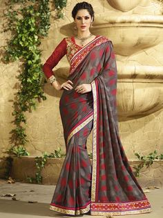 Grey with Red Partywear Designer Saree 2406KS