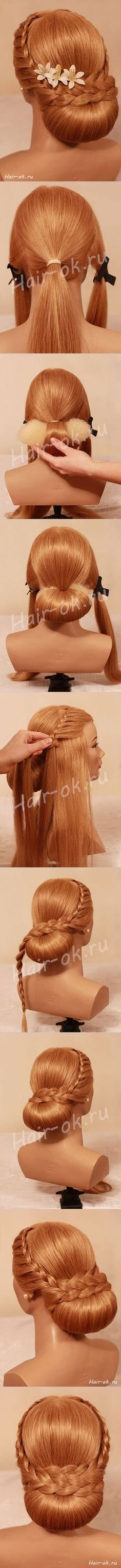 Braided Hair Tutorial and beautiful hair color Braided Bun Hairstyles, Up Hairstyles, Wedding Hairstyles, Hairstyle Braid, Braided Updo, Braid Hair, Low Updo, Hair Twists, Bridesmaid Hair