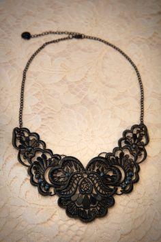Darling Divine - Black Diamante Paisley Necklace