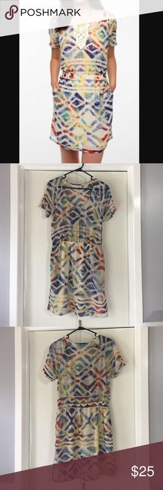 """Urban Outfitters Silky Printed Dress sz M 💙 Urban Outfitters Band of Gypsies // Staring at Stars brand """"Silky Printed Dress"""" size medium in multicolor.  Top is scoopneck and sheer, bottom is lined with an ivory liner.  Pockets! 💕 beautiful dress, only worn once.  Light and airy silky dress cut in an easy fit * Sheer at the loose top * Gathered at the waist. 🌟Reasonable offers accepted! 🌟 Urban Outfitters Dresses Mini"""