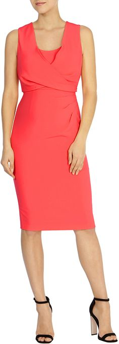 Womens coral red claudette crepe dress petite from Coast - £129 at ClothingByColour.com