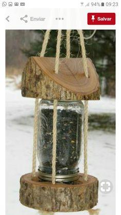mason jar feeder design idea to DIY Diy Planters Outdoor, Outdoor Decor, Garden Whimsy, Garden Terrarium, Bird Tree, Outdoor Sculpture, Wooden Art, Mason Jar Diy, Jar Crafts