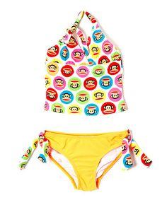 Look what I found on #zulily! Yellow & Purple Monkey Tankini - Toddler & Girls #zulilyfinds