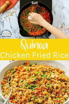 This Quinoa Fried Rice Recipe is chock full of veggies and chicken for a wholesome, filling meal that's ready in 30 minutes. Quinoa Fried Rice is a healthy version of the take-out favorite and an easy one pan dish for any night of the week. Chicken Quinoa Recipes, Quinoa Recipes Easy, Healthy Chicken Dinner, Healthy Meal Prep, Healthy Cooking, Healthy Dinner Recipes, Healthy Eating, Cooking Recipes, Keto Chicken