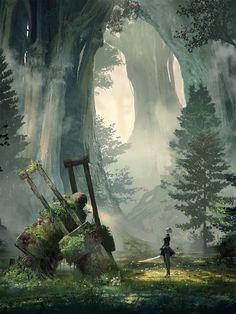 Primer tráiler con gameplay de NieR: Automata Nueva visión del arte desde el objeto la accion es el environment