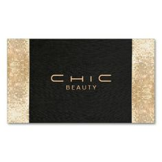 Elegant Chic Black Linen Gold Sequin Beauty Business Card Templates for Fashion Designers, Stylists, Makeup Artists, Cosmetologists.
