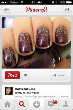 Fall Nails deep purple and silver glitter
