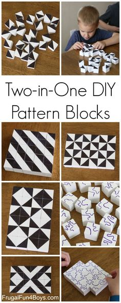 Two-in-One DIY Pattern Blocks for STEM Learning and Play Diy Projects For Kids, Diy Crafts For Kids, Gifts For Kids, Craft Projects, Kids Diy, Wood Projects, Easy Crafts, Stem Activities, Activities For Kids