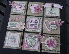 Anniversaire du blog de Variations Créatives Baby Scrapbook, Scrapbook Cards, Mini Scrapbook Albums, Handmade Tags, Candy Cards, Pocket Letters, Paper Tags, Scrapbook Embellishments, Valentine Day Cards