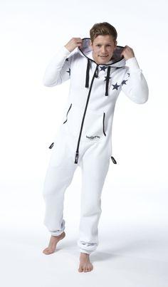 Snuggaroo Men's White Star Onesie OnePiece One Piece Jumpsuit