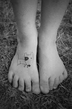 dog sketch temporary tattoo. $5.00, via Etsy.