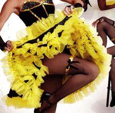 NWT Black Yellow Satinette Organdy CanCan Dance Skirt Ladies Large stretch waist #WolffFordingCo