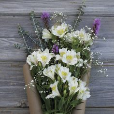 White alstroemeria and purple accents are a match made in heaven!