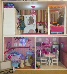 My daughter's first section of her AG doll house. I still need to add the curtains but these rooms are pretty much finished. We are planning on adding more rooms in the future.