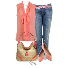 A fashion look from April 2013 featuring red top, boyfriend jeans и pink shoes. Browse and shop related looks.