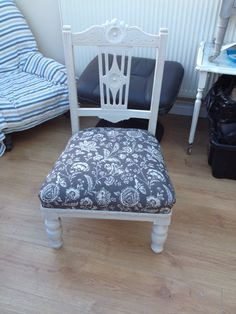 Just painted and re-covered this little chair. Made my own piping too x
