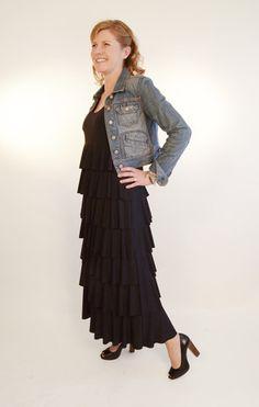 Maxi length ruffle dress - black