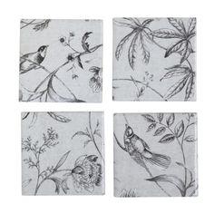 Vintage Grey Birds Ceramic Coasters Set of 4