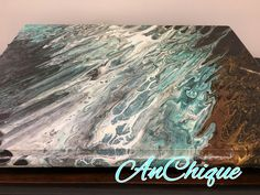 Paint Pour on top of vintage sewing cabinet by AnChique