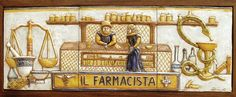 Pharmacy Bas Relief Tiles Farmacia Italian Ceramics