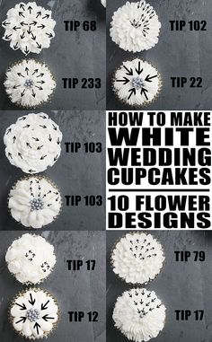Easy white wedding cupcakes recipe from scratch with white buttercream frosting. These soft and moist white cupcakes are decorated to look like buttercream flowers, using decorating tips. Wedding Cupcake Recipes, White Wedding Cupcakes, Cupcake Tower Wedding, Bridal Shower Cupcakes, White Cupcakes, Flower Cupcakes, White Wedding Flowers, Wedding White, Simple Cupcakes