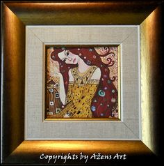 MINIATURE EVELIN Mixed media on canvas: 10 x 10 cm Frame:20 x 20 x 3,5 cm