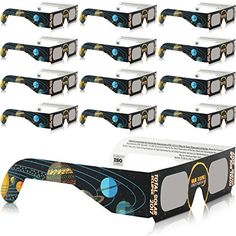 250c0e5c78e Solar Eclipse Glasses - CE and ISO Certified Safe Shades for Direct Sun  Viewing - Viewer