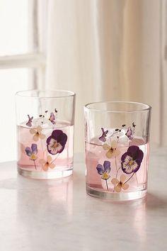 Pressed Flower Glass - Set of 2