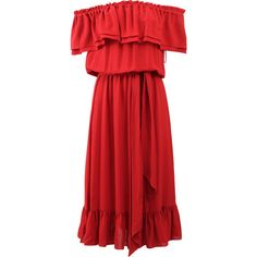 Michael Kors Off The Shoulder Dress ($1,895) ❤ liked on Polyvore featuring dresses, red silk dress, long sleeve loose dress, red long sleeve dress, tea length dresses and michael kors dresses