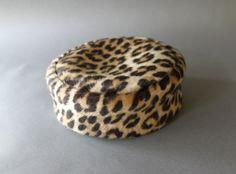 Vintage Leopard Print Pillbox Hat