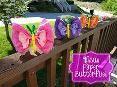 Tissue Paper Butterfly #craft via www.jmanandmillerbug.com