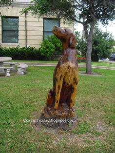 Tree Stump galveston | Dalmation sculpture outside the Galveston Fire Station