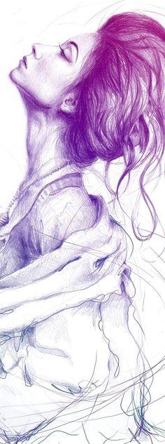 Pretty (Purple) Lady Portrait Art Print by Olechka