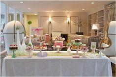 pink white elegant baby shower dessert table