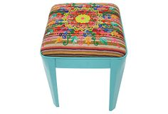 Milly Embroidered Stool, Turquoise on OneKingsLane.com