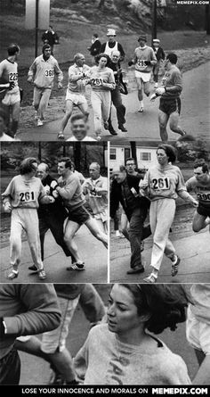 Pictures of Kathrine Switzer running marathon five years before women were allowed to.