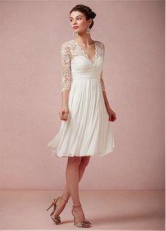dressilyme Amazing Tulle & Chiffon & Satin A-line V-neck Empire Waist Short Wedding Dress
