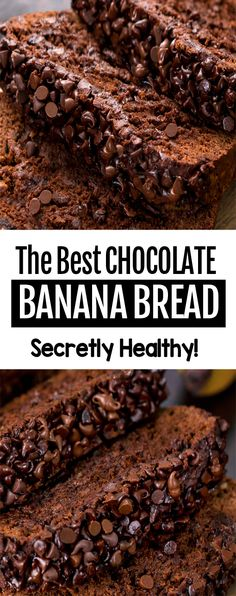 The BEST Healthy Chocolate Banana Bread Recipe, tastes like eating chocolate cake for breakfast! The BEST Healthy Chocolate Banana Bread Recipe, tastes like eating chocolate cake for breakfast! Healthy Bread Recipes, Easy Baking Recipes, Healthy Baking, Healthy Sweets, Dessert Healthy, Breakfast Healthy, Healthy Desserts With Bananas, Healthy Brunch, Simple Food Recipes