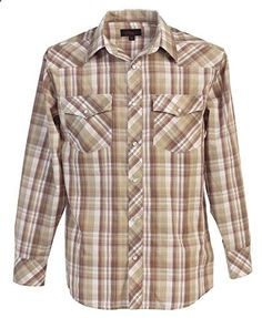 Studio 10 Mens Casual Western Plaid Checked Pearl Snap Long Sleeve Shirt, Beige / Khaki, Large  Go to the website to read more description.