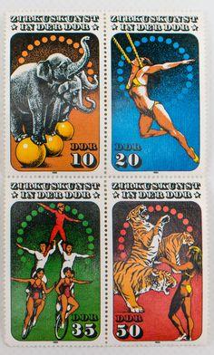 """DDR Museum - Museum: Objektdatenbank - """"Briefmarken Zirkuskunst"""" Copyright: DDR Museum, Berlin. Eine kommerzielle Nutzung des Bildes ist nicht erlaubt, but feel free to repin it!"""