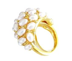 Love White + Gold --Pearl Cocktail Ring by Kenneth Jay Lane